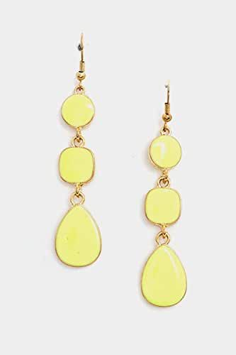 Trendy Fashion Jewelry Triple Link Faceted Stone Mix Shape Dangle Earring By Fashion Destination