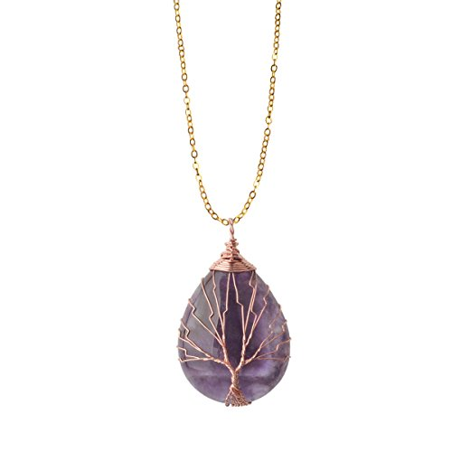 (ZHEPIN Amethyst Vintage Tree of Life Wire Wrapped Copper Teardrop Natural Gemstones Pendant Necklace,with Gift Box)