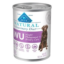 Blue Natural Veterinary Diet WU Weight Management + Urinary Care Canned Dog Food 12/12.5 oz