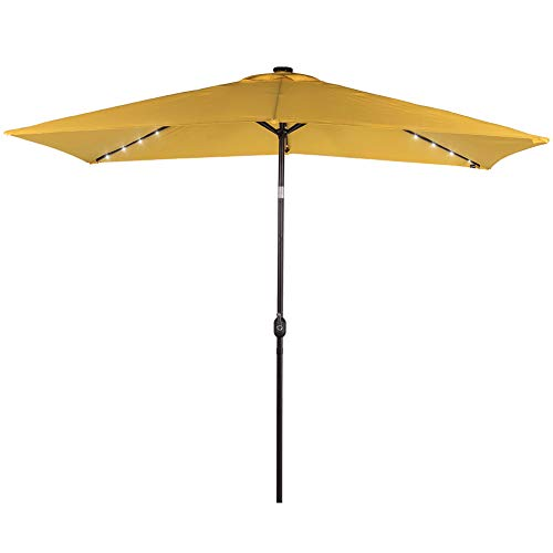 Sundale Outdoor Rectangular Solar Powered 26 LED Lighted Patio Umbrella Table Market Umbrella with Crank and Push Button Tilt for Garden, Deck, Backyard, Pool, 6 Alu. Ribs, 9 x 6.5-Feet (Yellow)