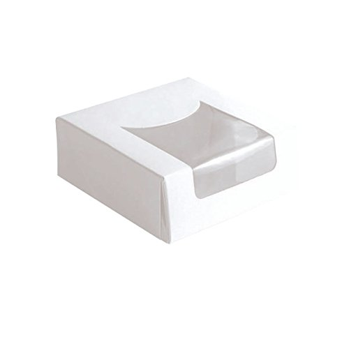 PacknWood White Square Pastry Window Box, 3.9'' x 3.9'' x 1.57'' (Case of 420)