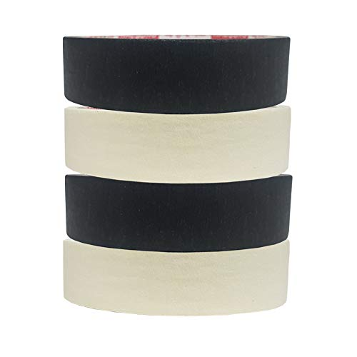 (T&F Masking Tape 1 inch 13 Yard Roll 4 Pack =52 Yards Office Arts Crafts Packing Painters DIY School Home Finishing Masking Labeling Tape(2 Black, 2 Cream Color))