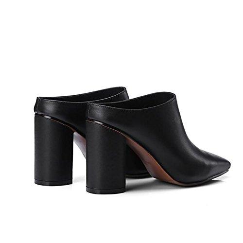 brun taille romain 9cm Office talons pantoufles Zjm couleur style style cuir 37 à en noir hauts fines chaussures PwqZzx6