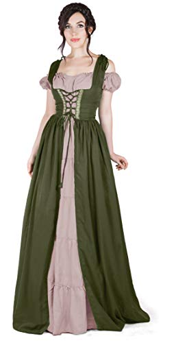 - Boho Set Medieval Irish Costume Chemise and Over Dress (2XL/3XL, Olive Green/Sand)