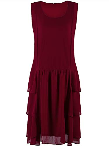VIJIV Womens 1920s Inspired Flapper Dress High Tea Great Gatsby Maroon with Tiered Skirt 20s Dress Red X-Large
