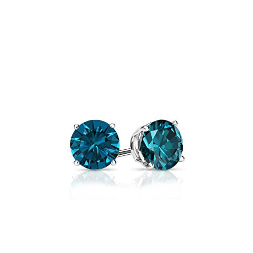 Blue - Round Brilliant Cut Diamond Earring Studs in 14K Gold (0.25 ()
