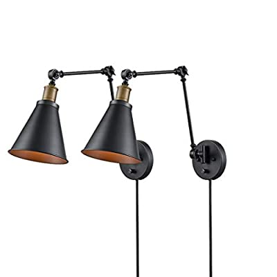 CLAXY Industrial Swing Arm Hardwire Plug-in Wall Sconce