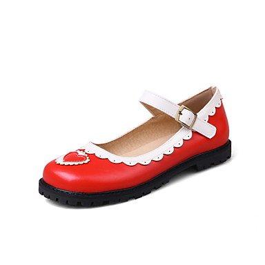 Cómodo y elegante soporte de zapatos de las mujeres pisos primavera verano otoño otros casual de piel sintética soporte de talón hebilla costuras Encaje Negro Rosa Rojo rojo