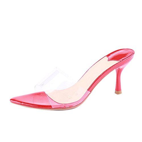 con de Cm Bien Zapatos Tacon Transparente KPHY de Cool gules Están La Verano Sexy Moda Zapatos Zapatillas Mujer De Cristal De 8 Y En pwOqw0H5