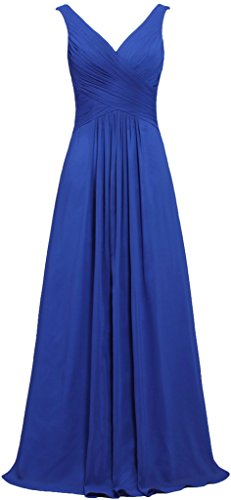 ANTS Women's V Neck Sleeveless Long Bridesmaid Dresses Chiffon Gowns Size 16 US Royal Blue
