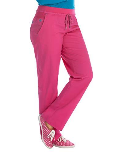 (Med Couture Signature Women's Yoga Drawstring Scrub Pant Azalea/Harbor Blue)