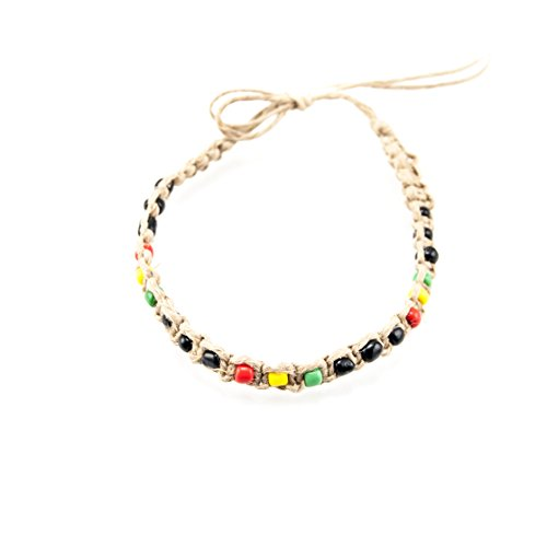 (Hemp Anklet/Bracelet Rasta Colored Glass Beads Black Green Yellow Red )