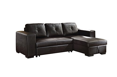 Acme Furniture ACME Lloyd Black Faux Leather Sectional Sofa With Sleeper