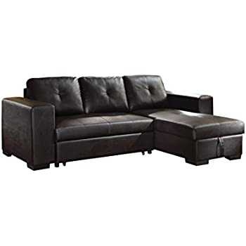 Amazon ACME Lloyd Black Faux Leather Sectional Sofa with
