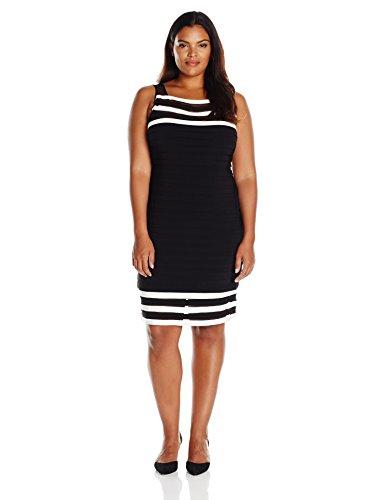(Adrianna Papell Women's Size Matte Jersey Colorblocked Sheath Dress Plus, Black/Ivory, 18W)