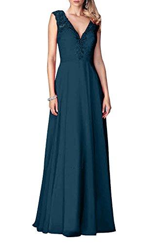 Abendkleider Blau Langes Brau Ballkleider A Dunkel Chiffon Abiballkleider La Partykleider mia Brautmutterkleider Linie Festlichkleider Rock Neu txTqZagIw