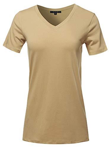 Basic Solid Premium Cotton Short Sleeve V-Neck T Shirt Tee Tops Khaki L
