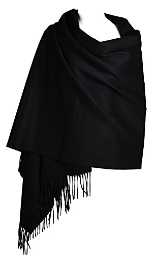 Cashmere Wrap Shawl Stole for Women, Winter Extra Large(79in x 28in) Wool Scarf, Black