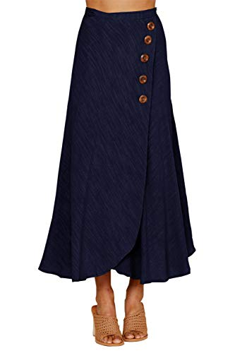 Ancapelion Women's Pure Color Buttoned Retro Tie up Classic Long Summer A Line High Waisted Maxi Navy Maxi Skirt Blue Skirt X-Large