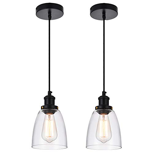 Cuaulans Industrial 2 Pack Black Pendant Lights, Clear Glass Shade Pendant Lighting Fixture for Kitchen Island Dining Room Coffee Bar ()