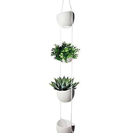 Amazon Com 4 Tier Hanging Plant Holder White Ceramic Planters For