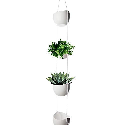 (4-Tier Hanging Plant Holder, White Ceramic Planters for Wall & Ceiling, Decorative Planter Pots Outdoor & Indoor Use, Succulent Wall Planters, Macrame Hanging Plant Pots, White Bowl Pots for)