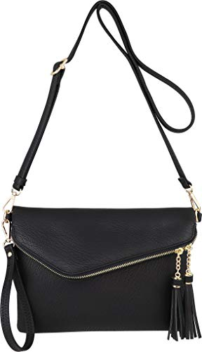 Fold-Over Envelope Wristlet Clutch Crossbody Bag with Tassel Accents ()