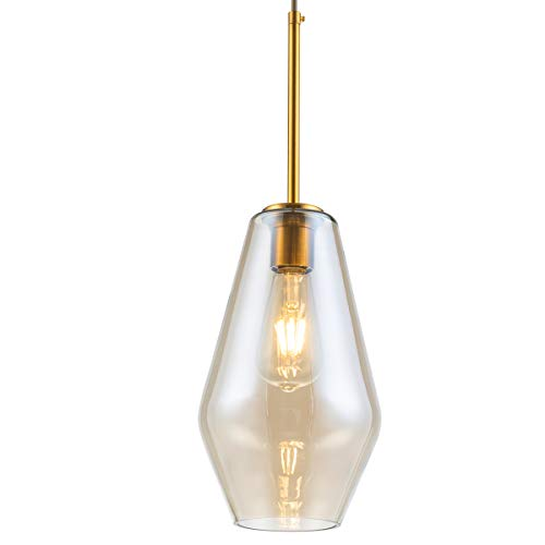 (Modern Glass Pendant Light Vase Shape Hanging Lamp with Brass Finish Fit for Kitchen Island Dining Room Living Room Hallway Base for E26 Bulb Max 40W, Small Size)