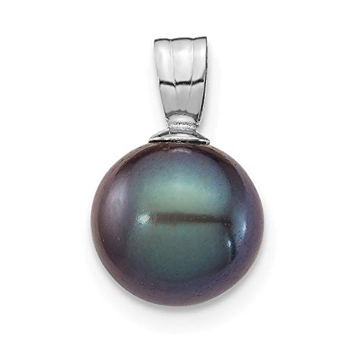 (14K White Gold Plated 8-9mm Black Round Freshwater Cultured Pearl)