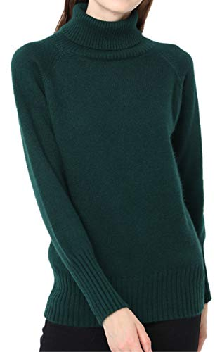 Ailaile Cashmere Sweater Women Winter Turtleneck Thick Loose Oversize Pullover Female (L/US Size 12-14, Green)