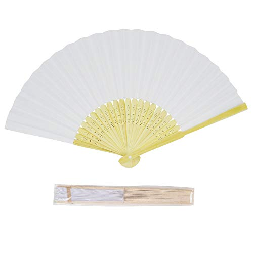 (CHU KE (50packs Bamboo Folding Fan Handheld Fans Paper Folded Fan for Wedding Party and Home Decoration)