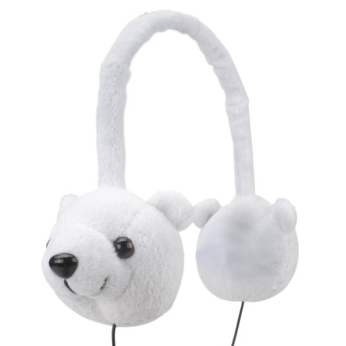 Kids Headphones (Polar Bear) - Groove Pal KDZ Wired On Ear Headphones for Children with Comfy Soft Plush Design, 3.5mm AUX Cord Jack, Limited Low Volume Safety - Perfect for Airplane, School, Home