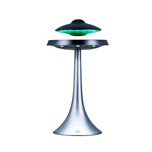 Izzya Anti-Gravity Flying Saucer Magnetic Floating HQ Bluetooth Speaker Wireless Charging Seven Color Changeable Modern Night Light, Silver