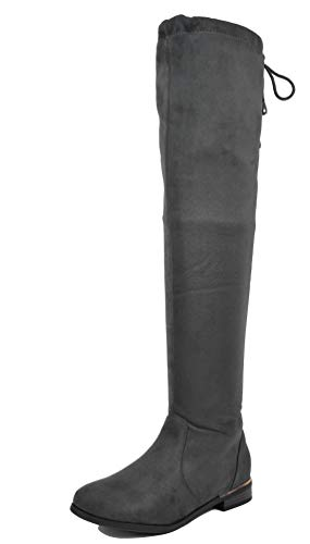 DREAM PAIRS Women's Upland Grey Suede Over The Knee Thigh High Winter Boots - 10 M US (Cute Dresses To Wear With Thigh High Boots)