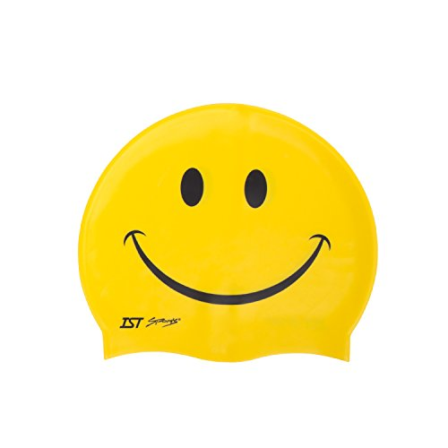 IST Silicone Smiley Face Swimming Cap (Yellow)