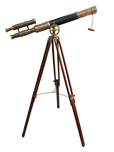 Maritime Brass Antique Double Barrel Designer Telescope with Wooden Tripod Floor Standing Telescopic tripods - ()