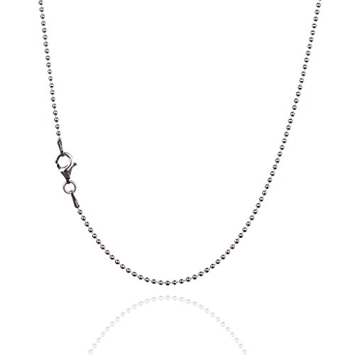 (925 Sterling Silver 1.50 mm Smooth Bead Chain Necklace with Pear Shape Clasp-Rhodium Finish)