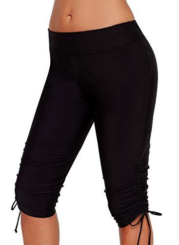 BJGXFMQ Swim Capris for Women Rash Guard Board Shorts UV Skinny Sport Bottom Swimwear Black - Tie Cotton Capri