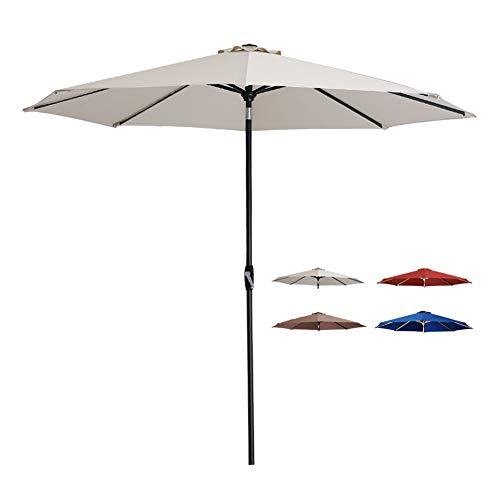 Tempera Patio Umbrella 10 Ft Outdoor Garden Table Umbrella with Crank and Auto-Tilt 8 Ribs in 200G Oatmeal Olefin Canopy