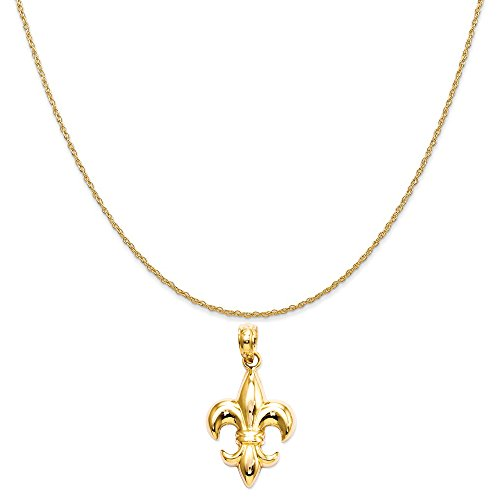 Fleur De Lis Gold Necklace (14k Yellow Gold Small Fleur-De-Lis Pendant on a 14K Yellow Gold Rope Chain Necklace, 16