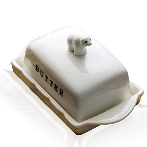 (Lependor Porcelain Cute Butter Dish with Creative Polar Bear Ceramic Lid Perfect For East/West Butter - with Bear Lid)