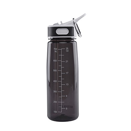 BOTTLED JOY Water Bottle, Reusable Sports Water Bottle with Straw and Handle BPA-Free Leakproof Drinking Bottle for Travel Outdoor Hiking Camping, 28 oz 800ml (Black)