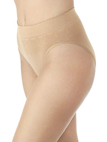 Vanity Fair Women's No Pinch-No Show Seamless Hi Cut Panty 13171, Soft Toffee Lace, Large/7