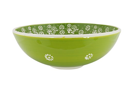 Buddha Tile Box - Handmade Ceramic Salad, Serving and Mixing Bowl with flowers - 12 different colors and patterns - 10 inch - great serving Bowls for Fruit, Salad, rice (Greek Green)