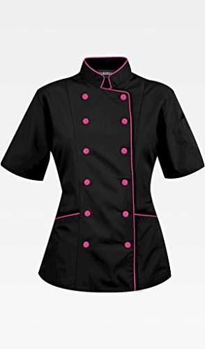 Short Sleeves Women's Ladies Chef's Coat Jackets By Chef's Apparels (M (For Bust 37-38), Black (Pink (Chef Pink)