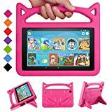 New Fire 7 Tablet Case 2019/2017 -SHREBORN Kids Shock Proof Case Cover with Handle and Stand for Amazon Kindle Fire 7 Inch Tablet (Compatible with 9th/7th/5th Generation, 2019/2017/2015 Release)-Rose
