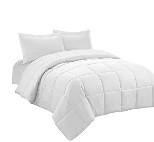 HIG 3pc Down Alternative Comforter Set - All Season Reversible Comforter with Two Shams - Quilted Duvet Insert with Corner Tabs -Box Stitched -Hypoallergenic, Soft, Fluffy (Full/Queen, Pure White)
