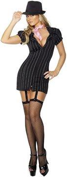 [Smiffys Women's Black/White Fever Gangster Lady Costume -US Dress 6-8] (Female Gangsters)