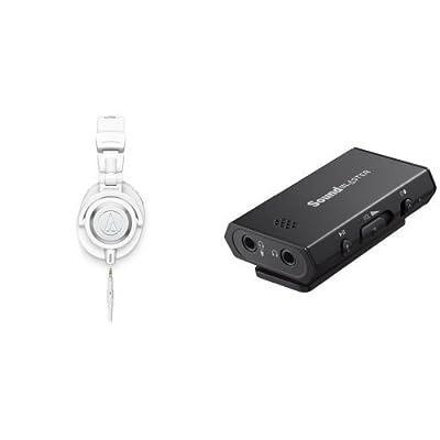 Audio-Technica ATH-M50xWH Professional Studio Monitor Headphones with Creative Sound Blaster Portable Headphone Amp