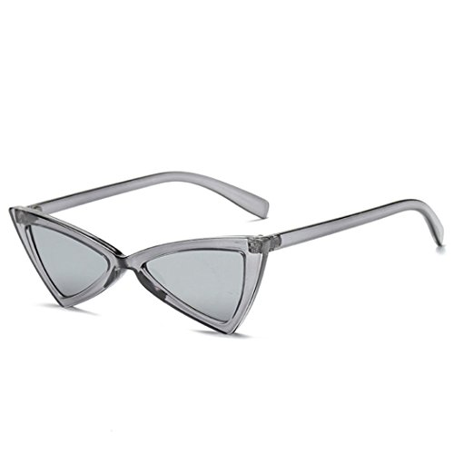 Retro Thin Triangle 90's Trend Cat Eye Vintage Sunglasses Narrow Fashion Clout Skinny Shades (Clear + Chrome Tinted ()